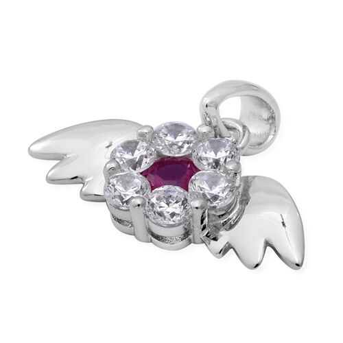ELANZA Simulated Ruby and Simulated Diamond Angel Wing Theme Pendant in Rhodium Overlay Sterling Silver