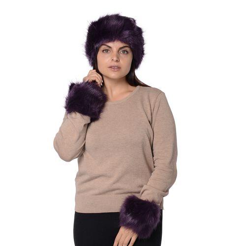 2 Piece Set - Faux Fur Headband (Size 10.2x55.9 Cm) and Wrist Warmer (Size 10.2x20.3 Cm) - Dark Purp