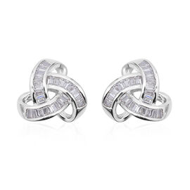 ELANZA Simulated Diamond Knot Stud Earrings in Rhodium Plated Sterling Silver With Push Back