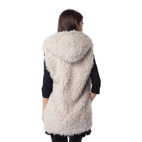 Designer Inspired - Off White Colour faux Fur Vest with Hood (Size 70x40 Cm)