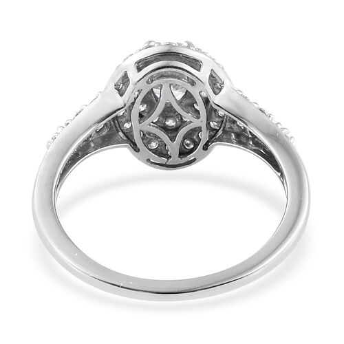 J Francis - 9K White Gold (Ovl) Ring  Made With SWAROVSKI ZIRCONIA
