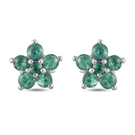 Emerald Floral Earrings (with Push Back) in Platinum Overlay Sterling Silver 1.10 Ct.