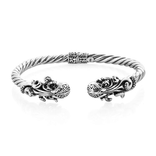 Royal Bali Collection Black Onyx (Rnd) Octopus Bangle (Size 7.5) in Sterling Silver.Silver Wt 23.00