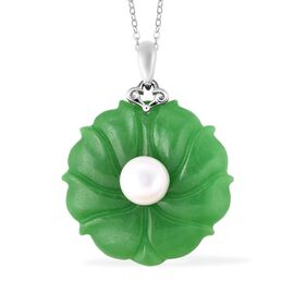 62 Carat Green Jade and Freshwater Pearl Floral Pendant with Chain in Rhodium Plated Silver 18 Inch