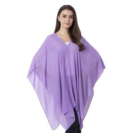 Purple Colour Floral Pattern Crystal Embellished Poncho (Size 80.01x99.06 Cm)