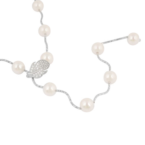 White Shell Pearl and Simulated Diamond Adjustable Necklace (Size 18) in Silver Tone