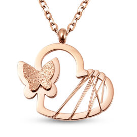 Heart with Butterfly Necklace (Size 16 with 5 inch Extender) in Rose Gold Tone