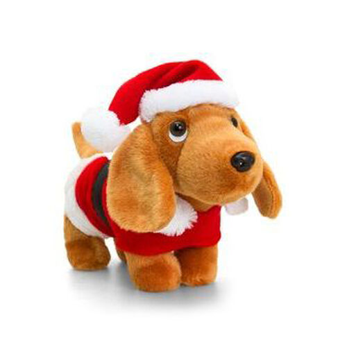Red Colour Douggie The Sausage Dog With hat and Coat