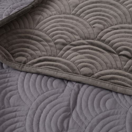 Deluxe Collection - Extremely Soft Short Pile Velvet Quilt with Full Embroidery in Dark Grey Colour (Size 260x240 Cm)