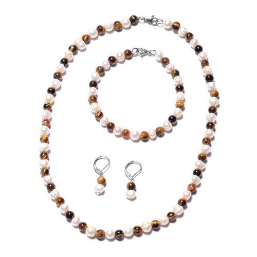 3 Piece Set - Yellow Tiger Eye and White Freshwater Pearl Beads Necklace (Size 18), Bracelet (Size 8