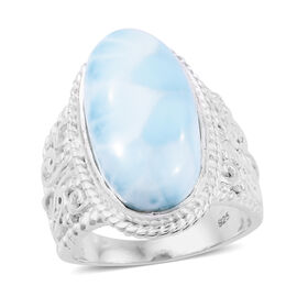 10.84 Ct Larimar Solitaire Ring in Sterling Silver 6.72 Grams