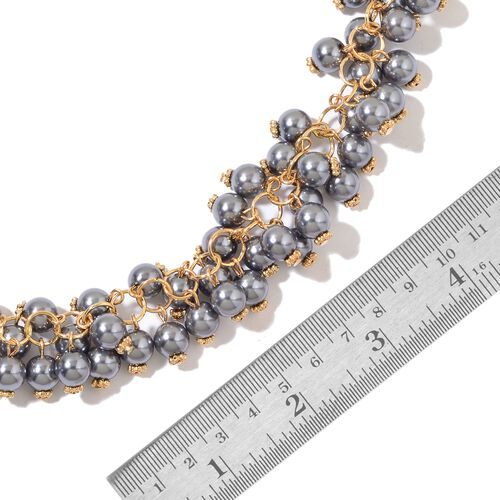 Simulated Grey Pearl Necklace (Size 18) and Bracelet (Size 7.50) in Yellow Gold Tone