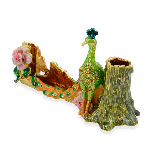 Green and Multi Colour Enameled Peacock Pen and Card Holder in Gold Tone with Multi Colour Austrian Crystal