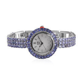 EON 1962 Swiss Movement Tanzanite (Rnd and Pear) Ajustable Watch (Size 8) in Platinum Overlay Sterli