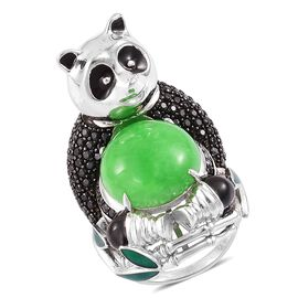 Designer Inspired- Limited Edition- Green Jade and Boi Ploi Black Spinel Panda Ring in Rhodium Plated Sterling Silver 15.350 Ct.
