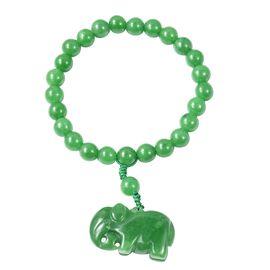 Green Jade Bracelet (Size 6.5) with Elephant Charm 179.50 Ct.