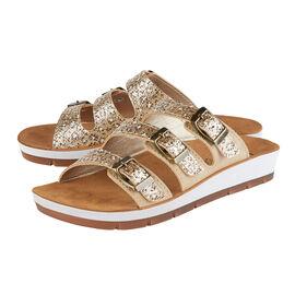 LOTUS Turin Leopard Print Triple Adjustable Strap Flat Mule Sandals (Size 7) - Gold