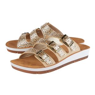 LOTUS Turin Leopard Print Triple Adjustable Strap Flat Mule Sandals - Gold