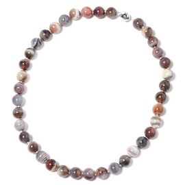 470 Ct Botswana Agate Beaded Necklace in Sterling Silver 20 Inch