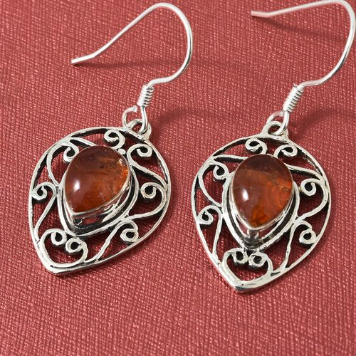 Hand Made- Jalisco Fire Opal Hook Earrings in Sterling Silver 1.570 Ct, Silver wt 6.00 Gms