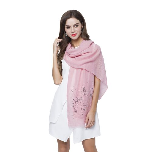 Silver Sequins Embellished Light Pink Colour Butterfly Pattern Scarf with Fringes (Size 180X70 Cm)