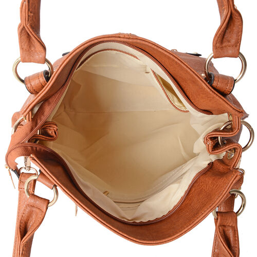 Italian Tan Colour Large Tote Bag with Multi Pockets and Removable Shoulder Strap (Size 40x31.5x12 Cm)