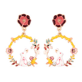 Multi Colour Austrian Crystal Enamelled Floral Earrings (with Push Back) in Yellow Gold Plated