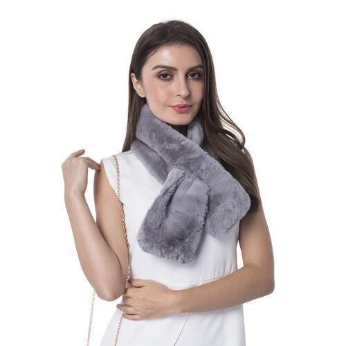 Ultra Soft Faux Fur Handbag and Scarf Set - (Bag size: 20x22cm) - Grey