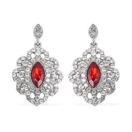 Simulated Ruby and White Austrian Crystal Dangle Earrings in Silver Tone