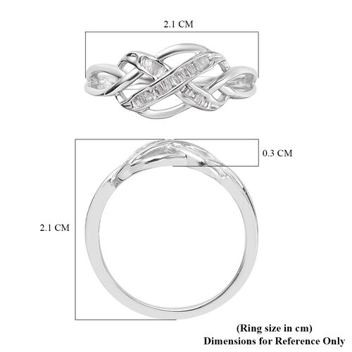 One Time Deal-Natural White Diamond Celtic Knot Ring in Platinum Overlay Sterling Silver