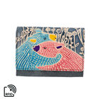 SUKRITI 100% Genuine Leather RFID Protected Bear Couple Wallet (Size 11.5x20.5x2.5cm) - Teal