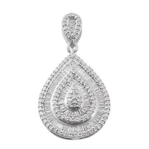 RHAPSODY 1 Carat Diamond Cluster Drop Pendant in 950 Platinum 6.50 Grams IGI Certified VS EF