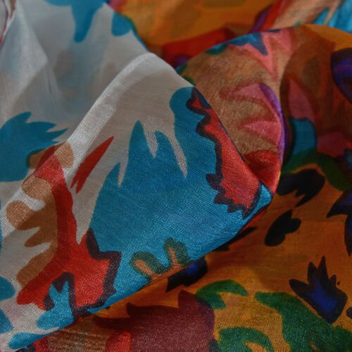 100% Mulberry Silk Red, Turquoise, White and Multi Colour Floral Hand Screen Printed Scarf (Size 180X50 Cm)