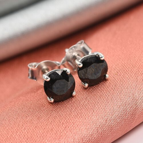 Elite Shungite Stud Earrings (with Push Back) in Platinum Overlay Sterling Silver 1.05 Ct.