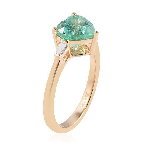 ILIANA 18K Yellow Gold AAA Boyaca Colombian Emerald (Hrt) Diamond (SI/G-H) Heart Ring 2.070 Ct.