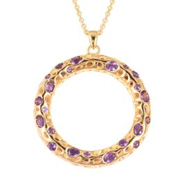 RACHEL GALLEY 4.57 Ct Amethyst Circle of Life Pendant with Chain in Gold Plated Silver 19.26 Grams