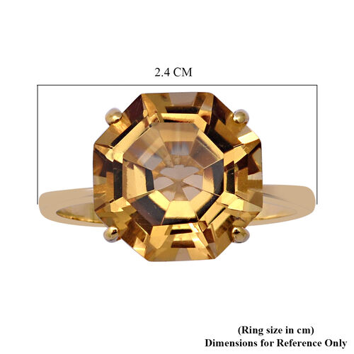 OCTILLION CUT Citrine Solitaire Ring in Yellow Gold Overlay Sterling Silver 6.69 Ct.