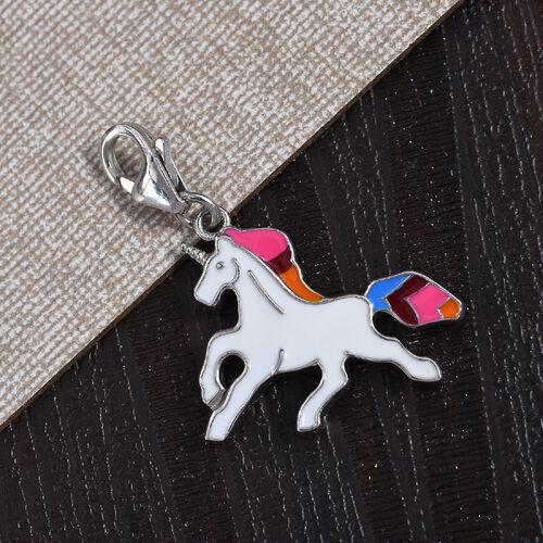 Platinum Overlay Sterling Silver Enamelled Unicorn Charm