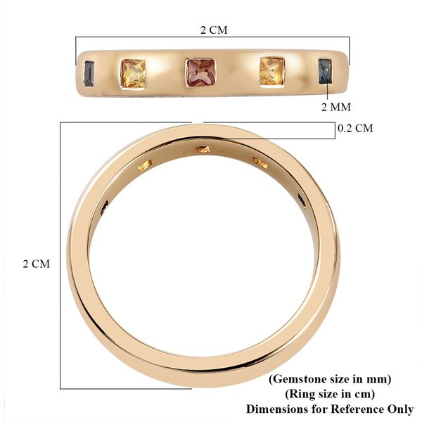 Personalised Engravable 9K Yellow Gold Blue Sapphire, Yellow Sapphire, Orange Sapphire Ring in Rhodium Overlay 0.25 ct, Gold Wt. 4 Gms 0.250 Ct