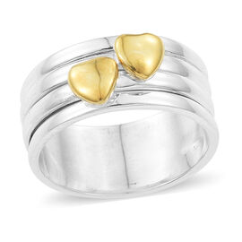 Designer Inspired - Yellow Plated Sterling Silver Heart Band Ring, Silver wt 5.34 Gms.