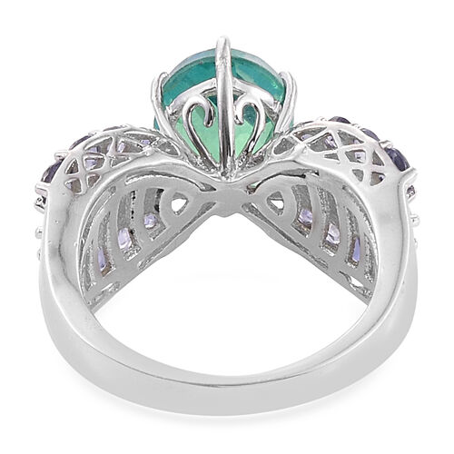 Peacock Quartz (Ovl 3.10 Ct), Iolite and Hebei Peridot Ring in Platinum Overlay Sterling Silver 4.500 Ct.