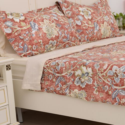 4 Pcs. Set - Chintz Print Cream Colour Fitted Sheet (140x190 cm) with Duvet Cover in Double Size (200x200 cm) and 2 Pillow Cases (50x75 cm), Red and Multi Colour