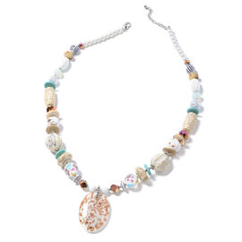 Murano Style Glass (Ovl), Simulated Pearl, Multi Colour Simulated Diamond, Blue Howlite, Wood Necklace (Size 30 and 2.5 inch Extender)