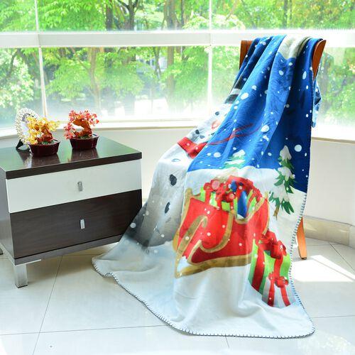 Super Soft Snowman Print Pattern Fleece throw - 200 Gsm -  Size 130x170cm.