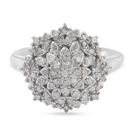Diamond Cluster Ring in Platinum Overlay Sterling Silver 0.52 Ct.