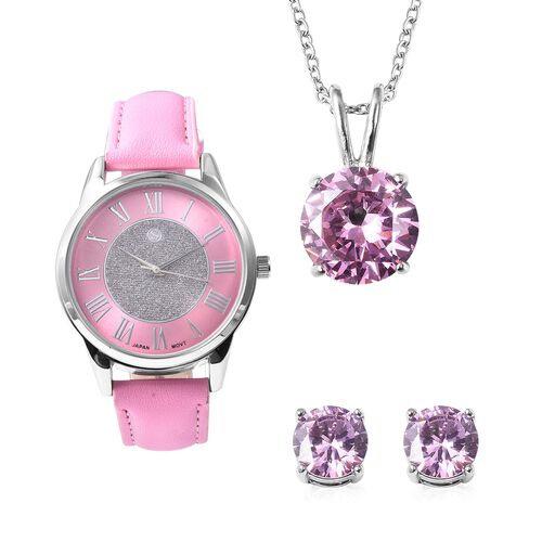 3 Piece Set - Simulated Pink Sapphire (Rnd) Pendant with Chain (Size 20), Stud Earrings (with Push B