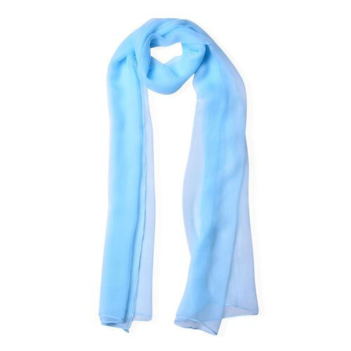 New Season-100% Mulberry Silk Light Blue Colour Scarf (Size 170X70 Cm)