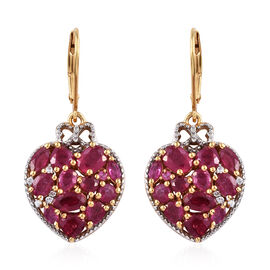 GP African Ruby (Ovl, Pear and Hrt), Natural Cambodian Zircon and Kanchanaburi Blue Sapphire Heart Earrings (with Lever Back) in 14K Gold and Platinum Overlay Sterling Silver 6.250 Ct.