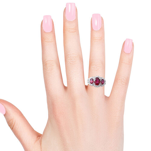 African Ruby (Ovl 3.84 Ct), Natural White Cambodian Zircon Ring in Rhodium Overlay Sterling Silver 4.880 Ct.
