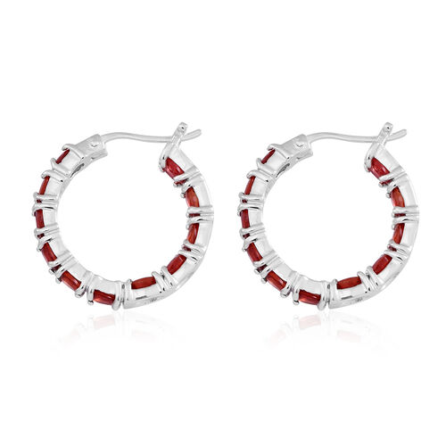 Very Rare Red Sapphire (Ovl) Hoop Earrings (with Clasp) in Rhodium Plated Sterling Silver 3.750 Ct.